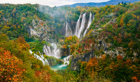 natural wonders: Amazing view of the famous waterfalls in Plitvice National Park, Croatia UNESCO world heritage site