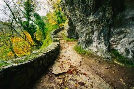 Beautiful stone pathway in the forest. Plitivce, Croatia.