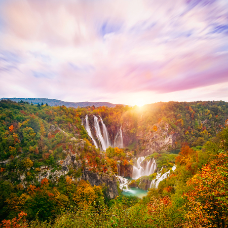 Amazing view of the famous waterfalls in Plitvice National Park, Croatia UNESCO world heritage site