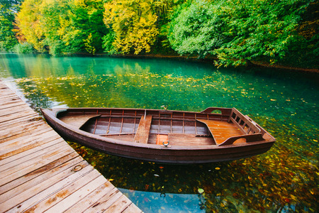 plitvice: Wooden Boats, Plitvice Lakes in Croatia Stock Photo