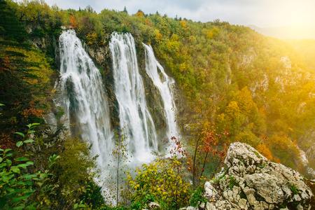 Greatest waterfalls in Plitvice National Park, Croatia UNESCO world heritage site Lizenzfreie Bilder