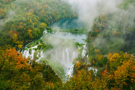 the world heritage: Greatest waterfalls in Plitvice National Park, Croatia UNESCO world heritage site Stock Photo