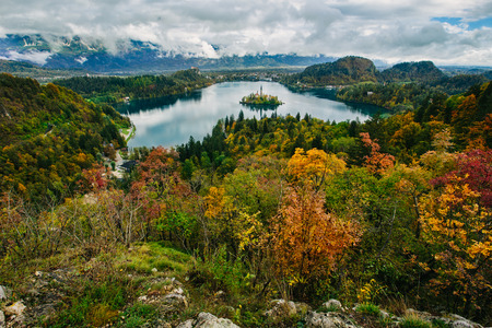 bled: Breathtaking aerial panoramic view of Lake Bled, Slovenia, Europe  Osojnica Stock Photo