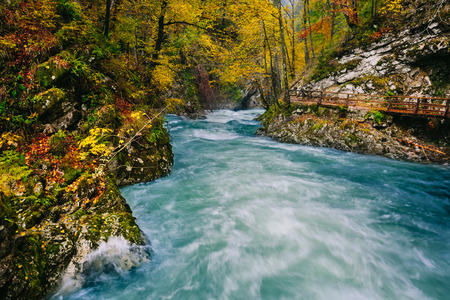 The famous Vintgar gorge Canyon with wooden pats,Bled,Triglav,Slovenia,Europe