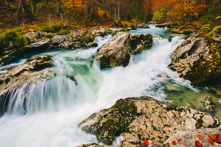 Amazing view of the river Mostnica Mostnice Korita with crystal clear emerald green and blue water and small waterfalls - Triglav national park, near Bled, Slovenia, Europe