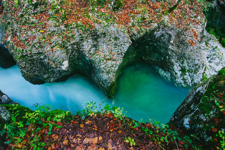 Fantastic view of the canyon Mostnica Mostnice Korita with crystal clear blue water - Triglav national park, near Bled, Slovenia, Europe