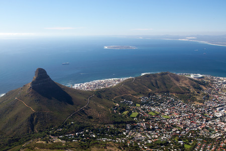 robben island: Cape Town city bowl below Signal Hill and Lion