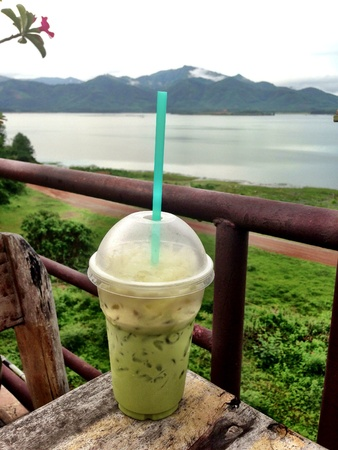 ice dam: Milk greentea with beautiful backgound