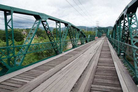The old iron bridge, landmark of Pai photo