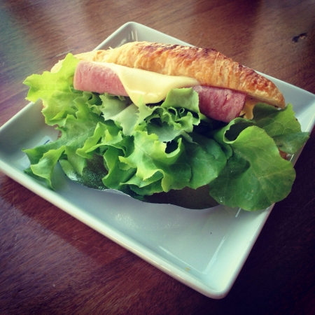 sandwish: Croissant sandwish Stock Photo
