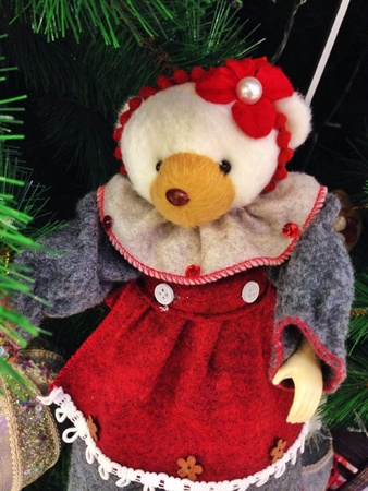 doll: The bear doll decorated christmas tree