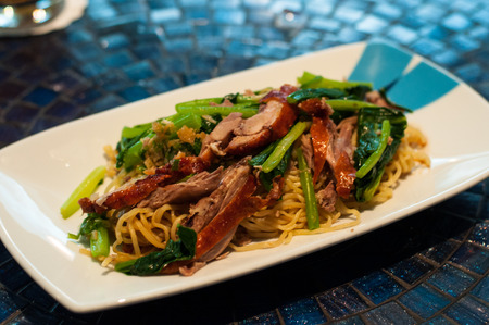 Fried noodle with roasted duck photo