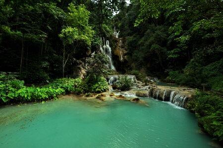 lao: Kouangxi Water Fall, Louangprabang, Lao Stock Photo
