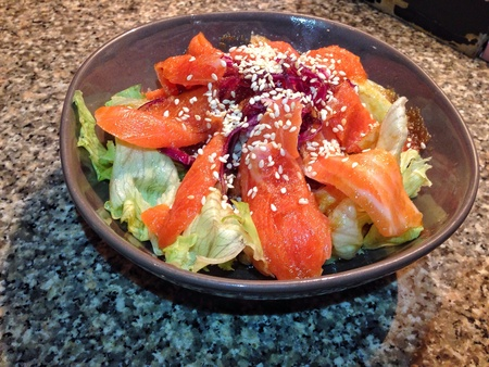 style: Japanese style salmon salad Stock Photo