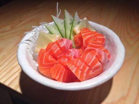 Japanese food, salmon sashimi