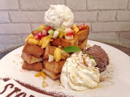 Fruity honey toast Stock Photo