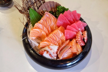 art: Mixed Sushi, traditional Japanese food