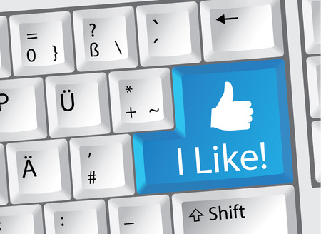 referral marketing: Social Media I Like Thumbs up German Keyboard