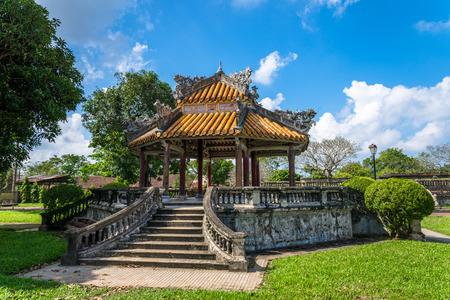 fighting styles: Antique pavilion in the garden of the Citadel in Hue. Vietnam.
