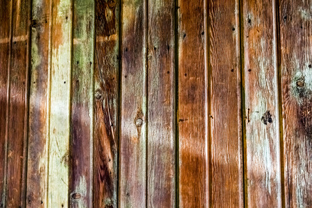 varnished: Discolored wooden panels.