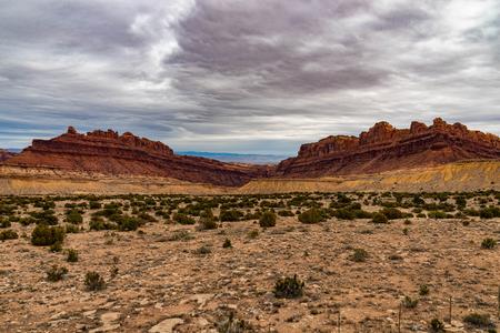 Black Dragon Canyon on the San Rafael Reef in Utah with a cloudy sky. Stock Photo