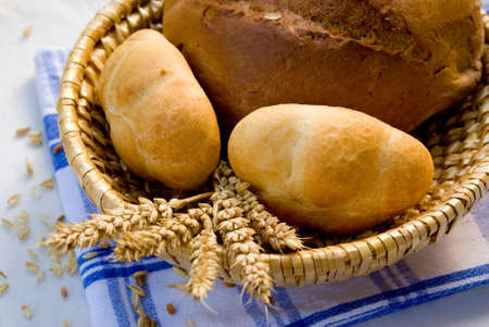 baked  goods: Baked goods. Bread and ears. Stock Photo