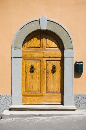 Ancient wooden door with hinges and knocker wrought iron handicraft