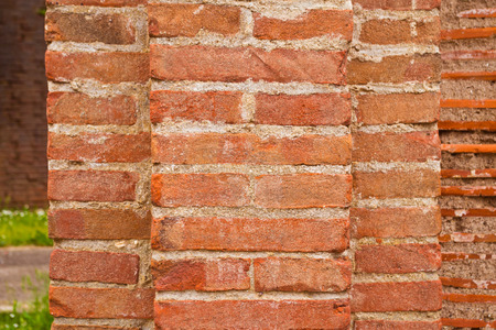 durable: brick wall and mortar of a traditional style building, comfortable and durable