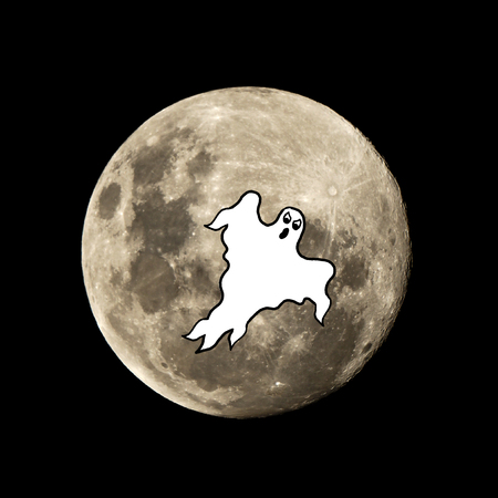 hallowen ghost in the dark night is set against the silhouette of the moon
