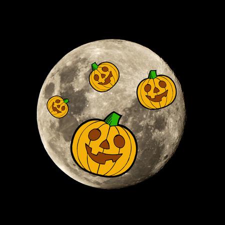 hallowen: hallowen pumpkin in the dark night is set against the silhouette of the moon