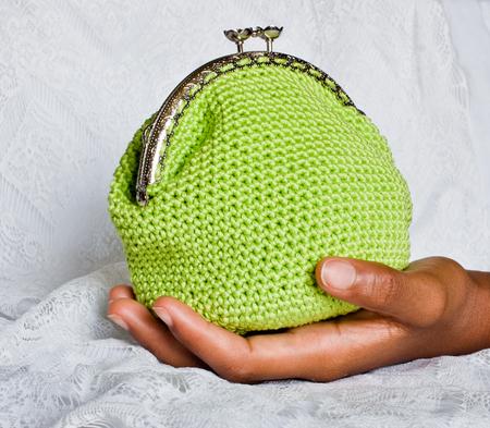 Handmade crochet purse Banco de Imagens