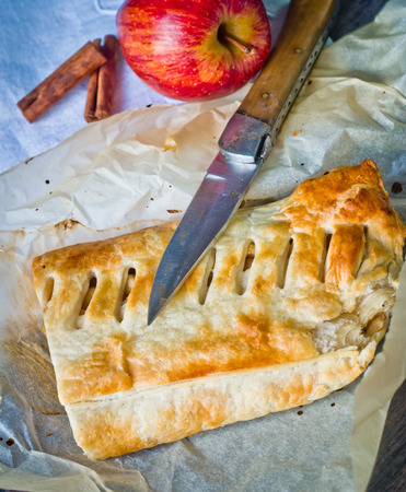 strudel: strudel homemade pie with apples and cinnamon, cut with a knife lying on cotton tablecloth decorated by hand on the kitchen table