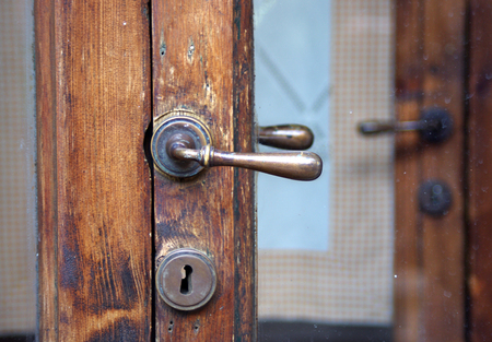 old wooden door with key lock Stok Fotoğraf