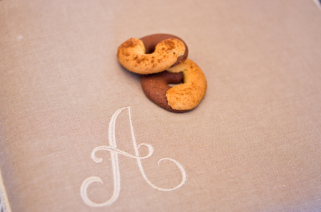 Placemat for breakfast warm and cozy material for your home with your initials, decor for farm hotel Stock Photo