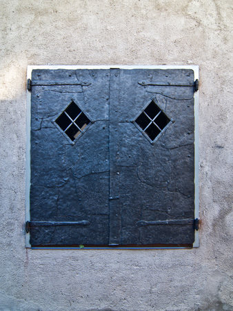 window with knockers entirely made of metal with small branches, closed to prevent strangers from entering