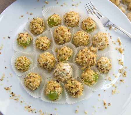 deletions and colorful appetizers and snacks for your party or for your lunch:.balls of fresh cheese and walnuts