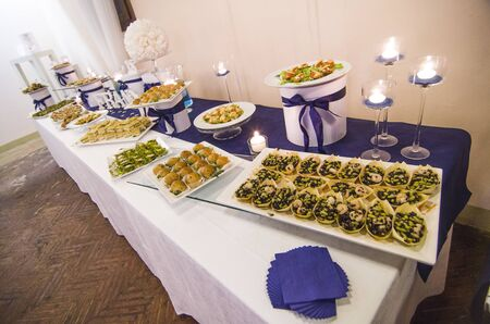 rich buffet full of sandwiches and appetizers ready for guests and for the party