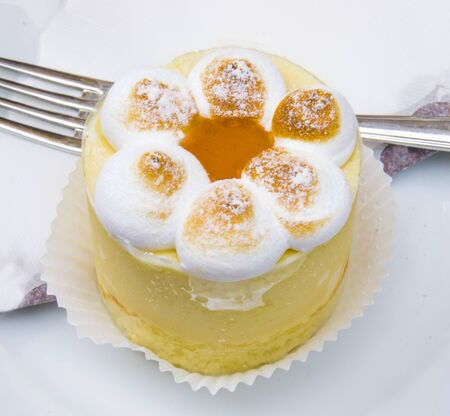 semifreddo mouse with meringue, peach ice cream and apricot jam
