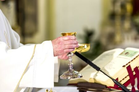 in the church wine becomes the blood of christ, and the host becomes the body of christ