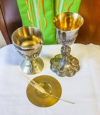 ear of wheat ripens for the bread which becomes the body of jesus christ and chalice to welcome the wine, blood of christ, for the mass of the faithful with green stole for the priest .. 免版税图像