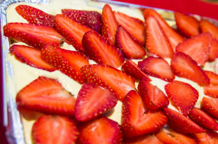 Excellent Italian dessert homemade by mum with strawberries, mascarpone and chocolate.