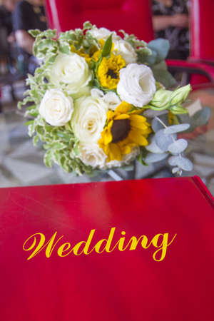 wedding book to write the names of the newlyweds on their most beautiful day Archivio Fotografico