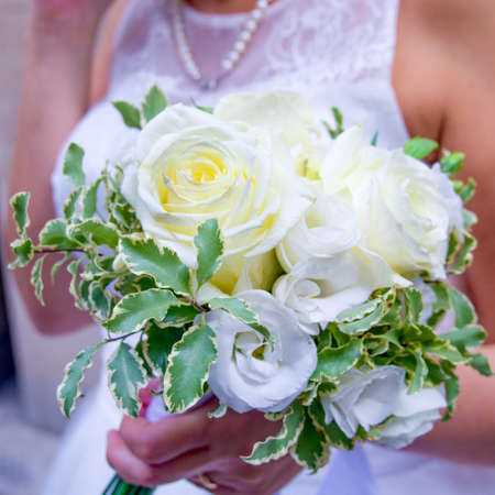 bouquet of splendid and fragrant white flowers for your most beautiful day