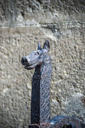 ancient metal ring for horses or ancient knocker in the stone walls of the historic city