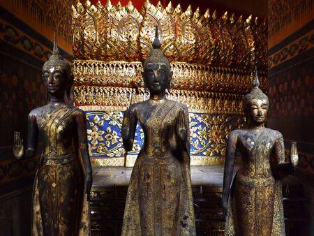 lord buddha: Three Lord Buddha standing in temple of Wat Kalayanamitra, Bangkok