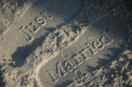 pensacola beach: Footprints in the sand