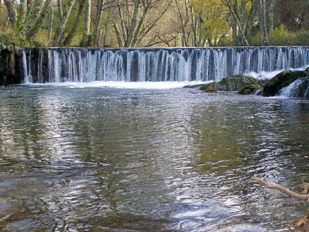 Nature: river, riverside, current water, fountain Stock Photo