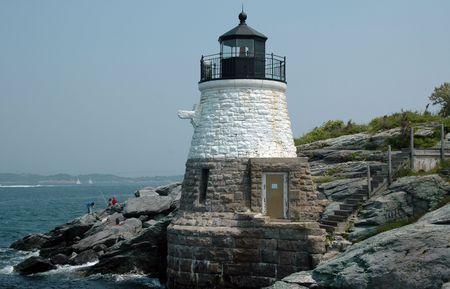ri: Castle Hill Light, Newport, RI Stock Photo
