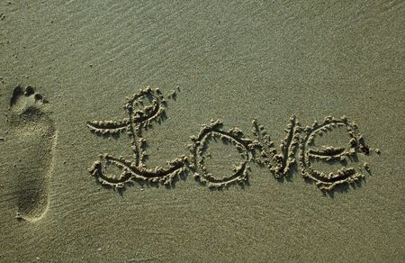 Sand Writing - Love with Bare Footprint