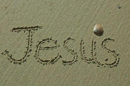 jesus word: Sand Writing - Jesus